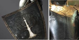 Snow White's shield: Photo by Rankin – © 2011 Universal Studios. ALL RIGHTS RESERVED. Gondorian armor: http://www.alleycatscratch.com/lotr/Human/Gondor/Armor.htm